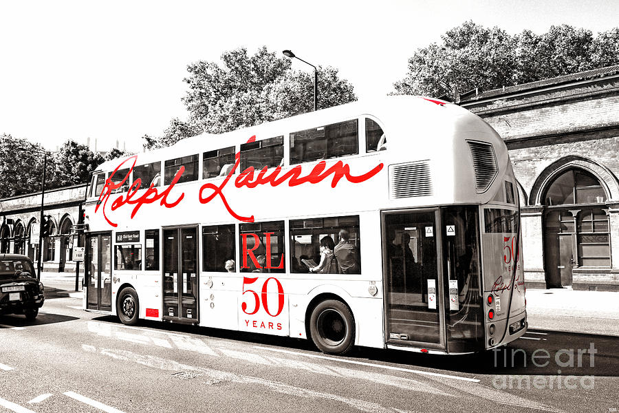 Doubledecker London Bus With Ralph Lauren Artwork Bw Photograph