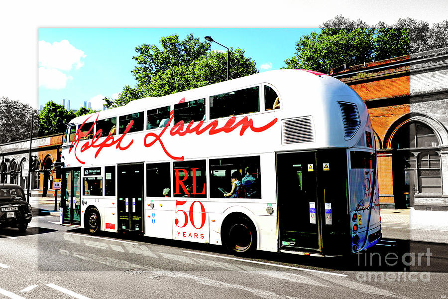 Doubledecker London Bus With Ralph Lauren Artwork Color Bw Photograph