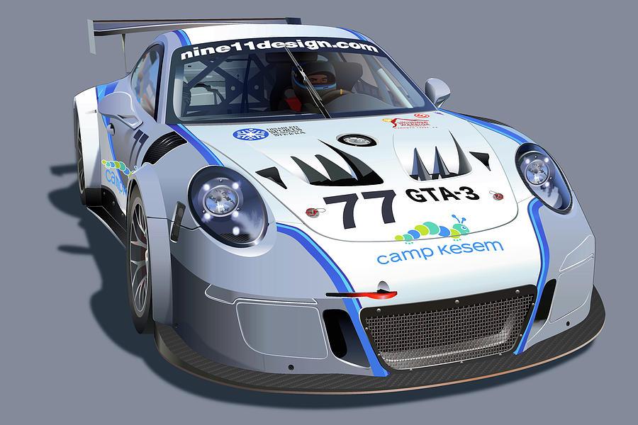 Doug Baron Porsche Gt3 Mr Drawing by Alain Jamar