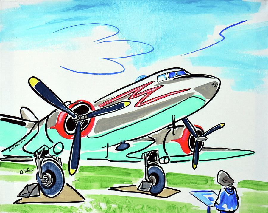 Plane Painting - Douglas Dc-3 by Kevin Cameron