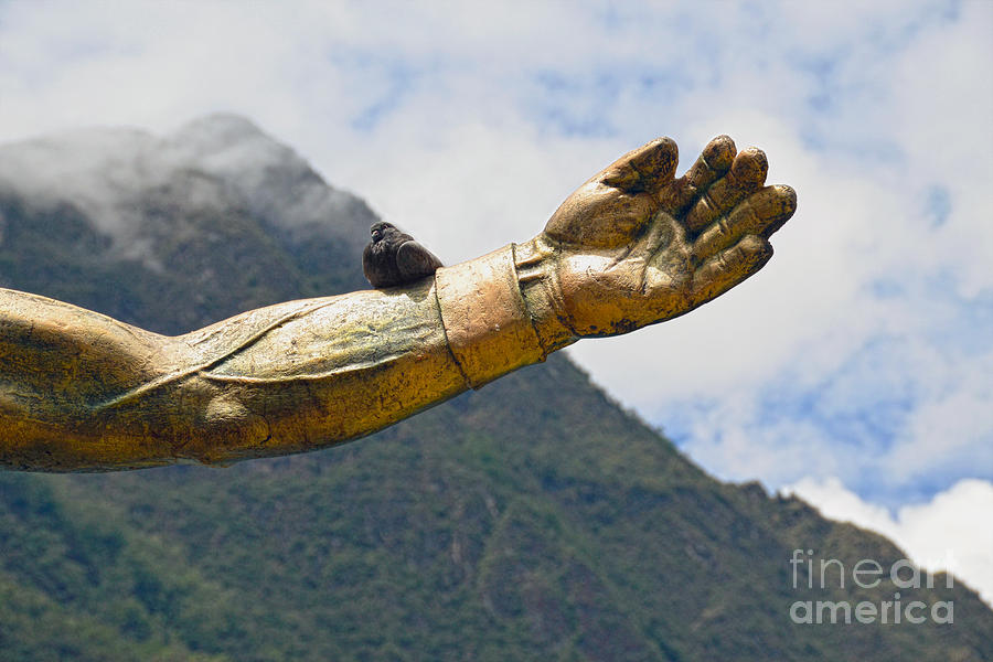 Dove on Pachacuti Statue Arm by Catherine Sherman