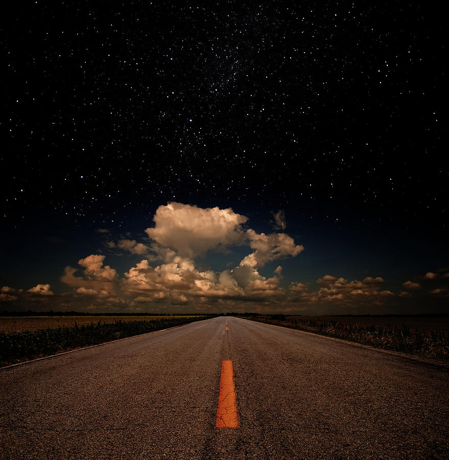 Down The Road Under Stars Photograph by Clintspencer