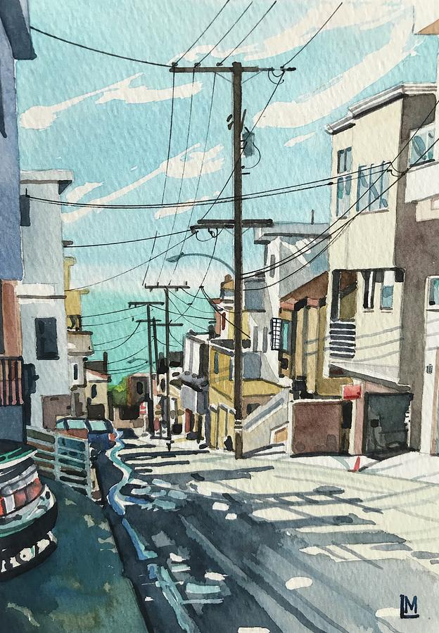 Manhattan Beach Painting - Downhill to the beach by Luisa Millicent
