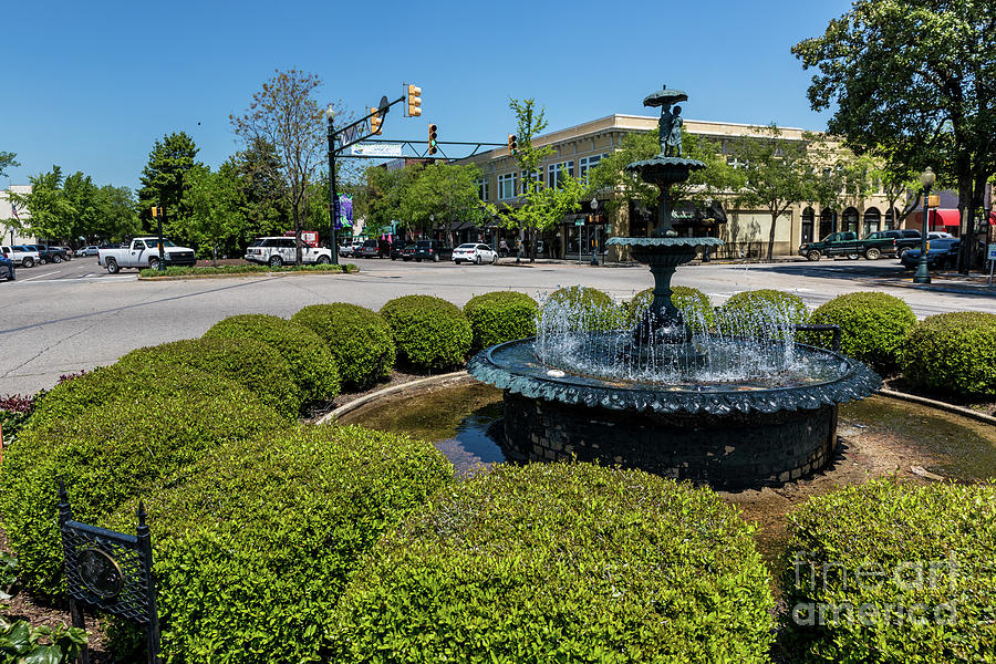 Downtown Aiken SC Fountain by SANJEEV SINGHAL