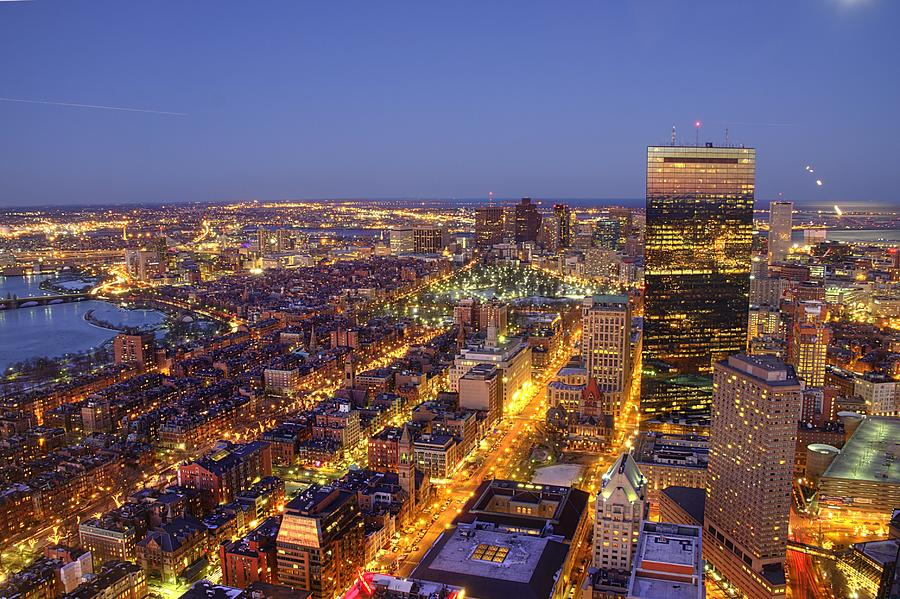 Downtown Boston During Night Photograph by Through The Lens