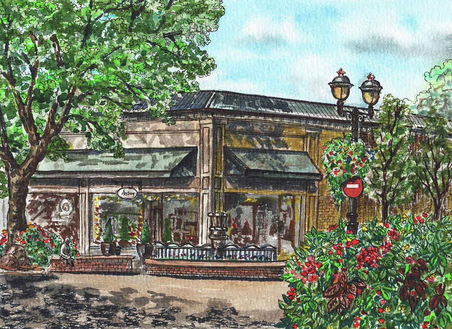 Downtown Camas Washington Watercolor Painting