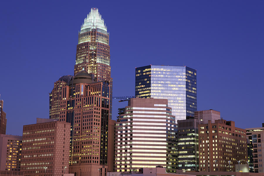 Downtown Charlotte, Nc At Night Photograph by Jumper