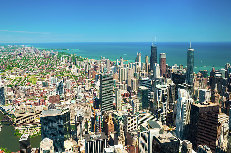 Downtown Chicago, Lake Michigan, And Photograph by Davel5957
