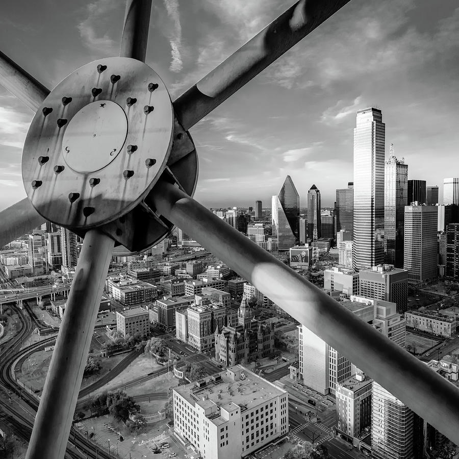 America Photograph - Downtown Dallas Texas Skyline At Sunset 1x1 Monochrome by Gregory Ballos