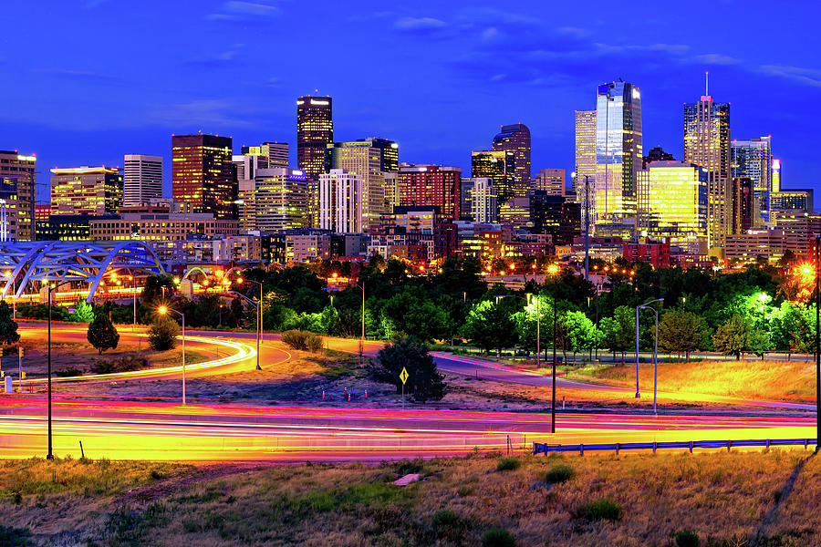 Downtown Denver Skyline In Vibrant Color Photograph By