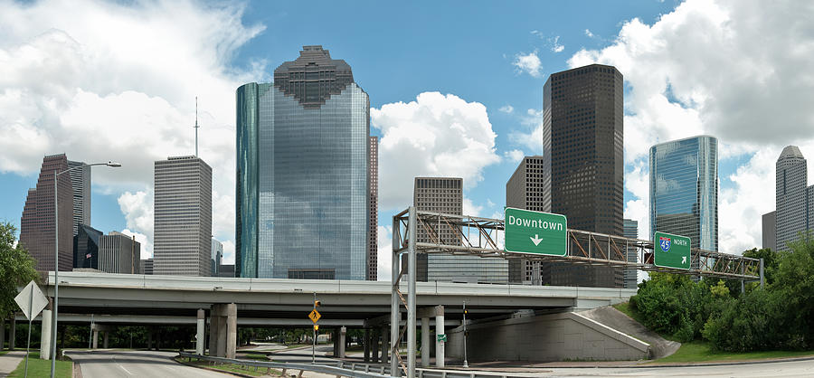Downtown Houston Texas Panoramic With Photograph by Thepixelchef