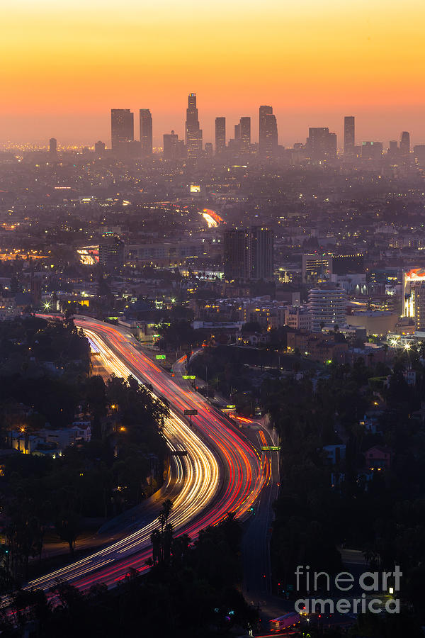 Magenta Photograph - Downtown Los Angeles Skyline At by F11photo