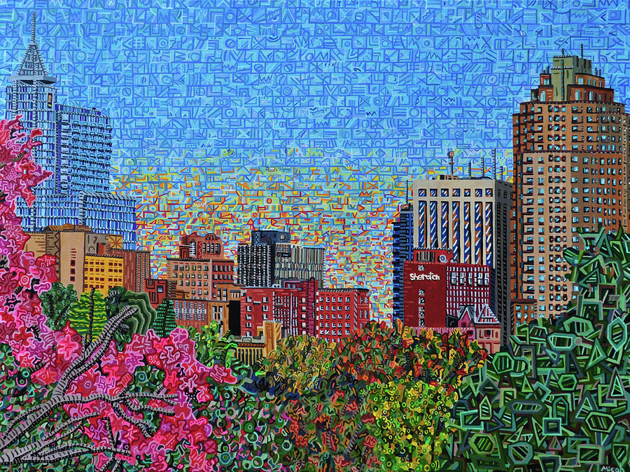 Raleigh Painting - Downtown Raleigh - October Sunset by Micah Mullen
