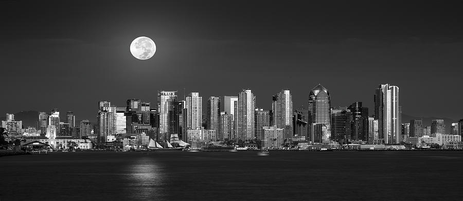 San Diego Photograph - Downtown San Diego Full Moon by William Dunigan
