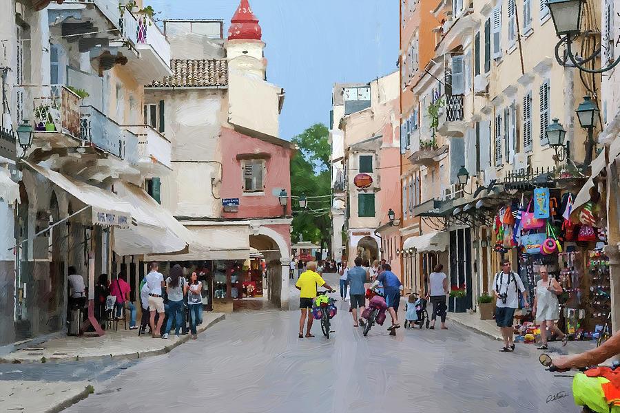 Downtown Street Corfu Island by Dean Wittle