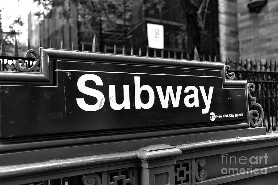 Subway Photograph - Downtown Subway Stop New York City by John Rizzuto