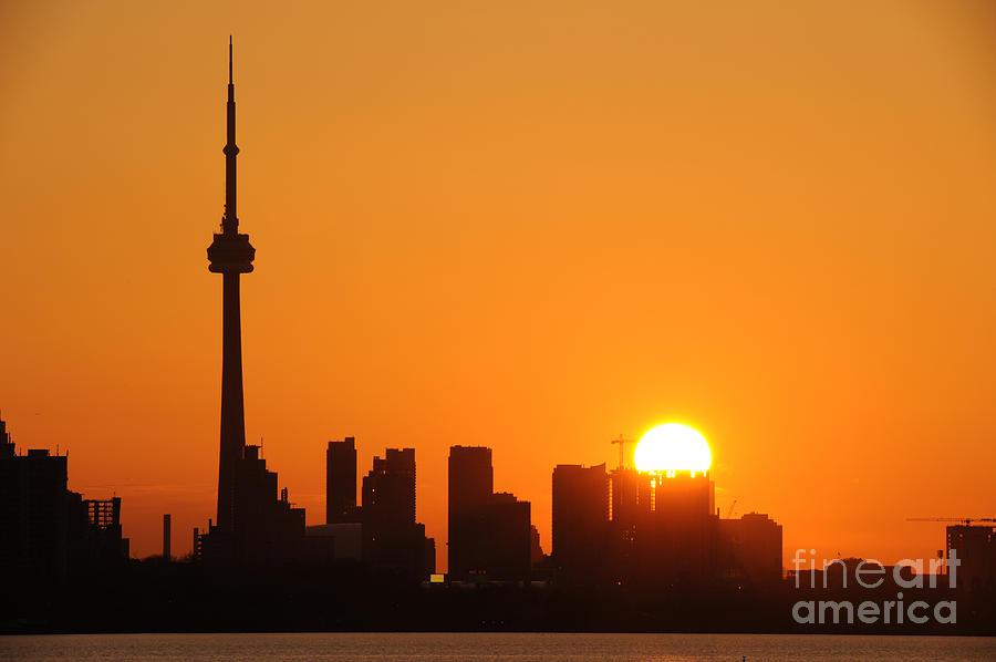 Sky Photograph - Downtown Toronto At Sunrise by Nikola Bilic
