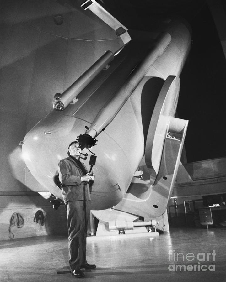 Dr. Hubble Looks Through Schmidt Photograph by Bettmann