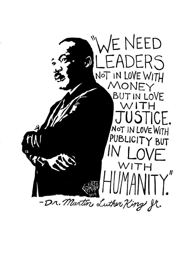 Pen And Ink Illustration Drawing - Dr. Martin Luther King Jr. Drawing by Rick Frausto