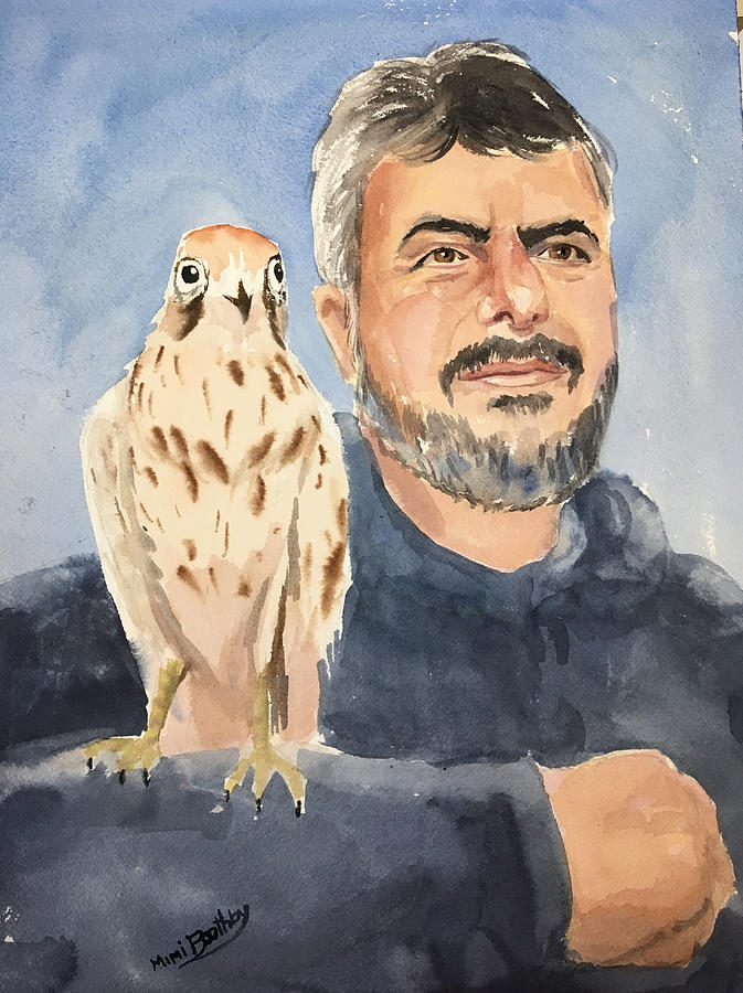 Dr Yoossef and hawk by Mimi Boothby