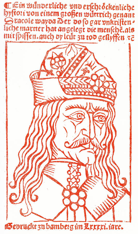 Dracula Drawing - Dracula Or Vlad Tepes, 1491 Woodcut by German School
