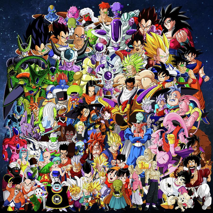 Dragon Ball Characters Drawing by Jason Stonebanks