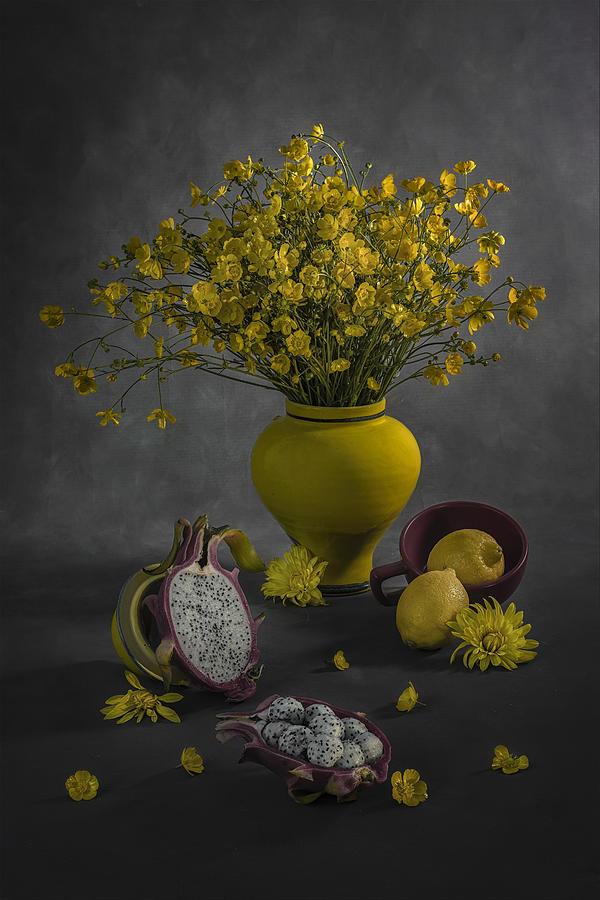 Dragon Photograph - Dragon Fruit And Lemon by Lydia Jacobs