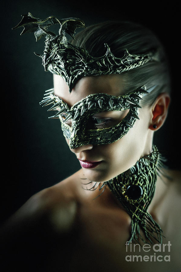 Dragon Queen Vintage eye mask by Dimitar Hristov