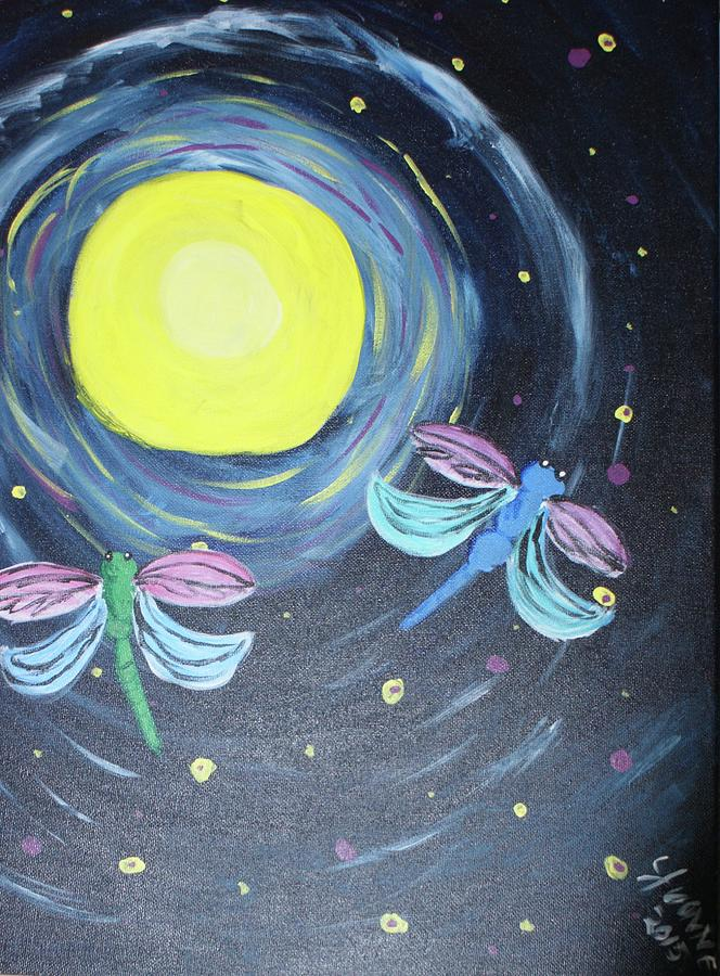 Dragonflies Painting - Dragonflies And Moonlight by Yvonne Sewell