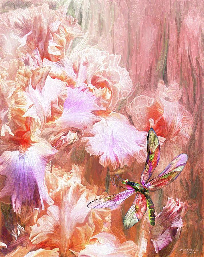 Dragonfly And Iris by Carol Cavalaris