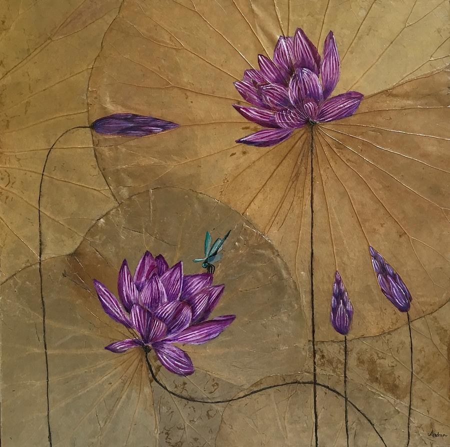 Dragonfly And Lotus Flower Painting By Amoroqie Art