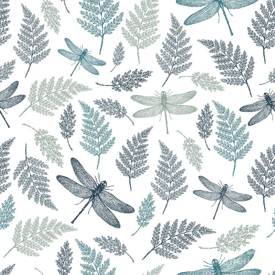 Template Digital Art - Dragonfly Seamless Pattern Fern by Adehoidar