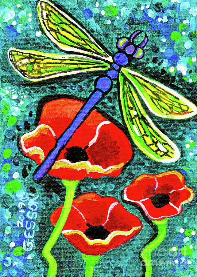 Dragonfly With Red Poppies by Genevieve Esson