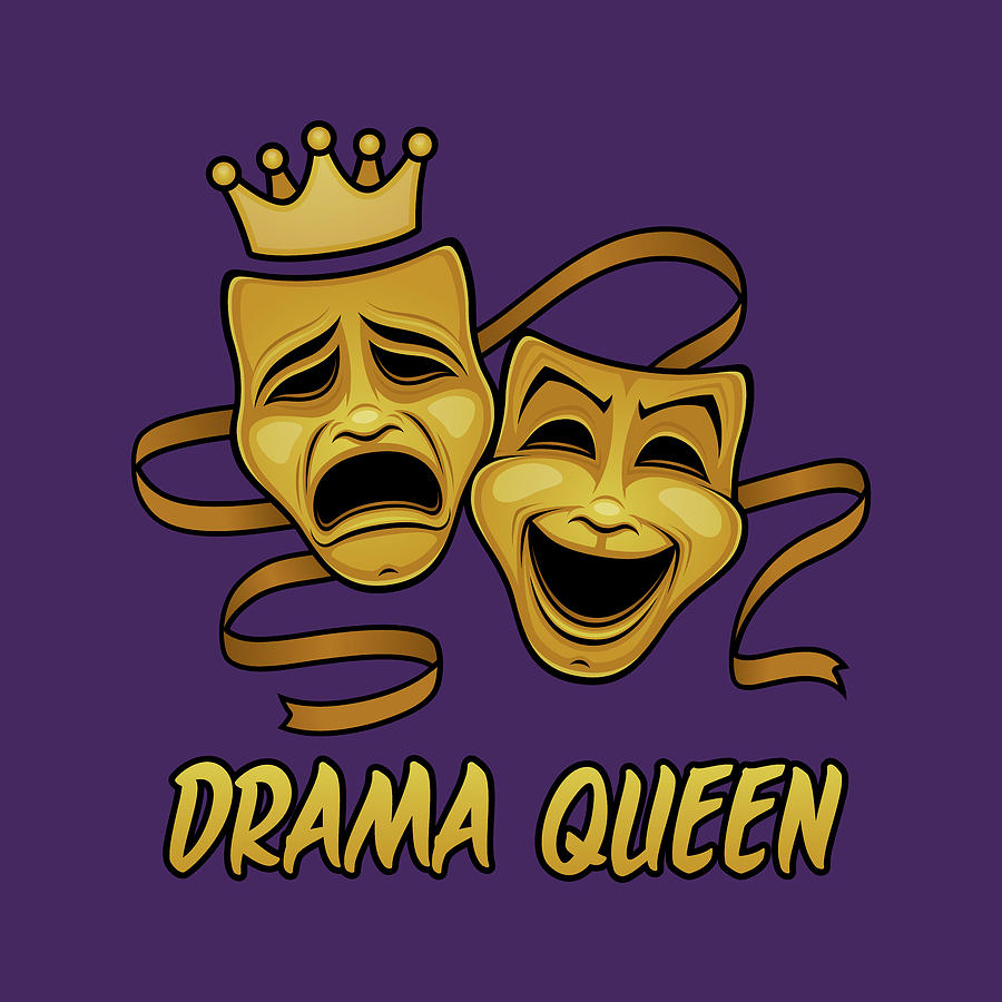 Drama Queen Comedy And Tragedy Gold Theater Masks Digital Art