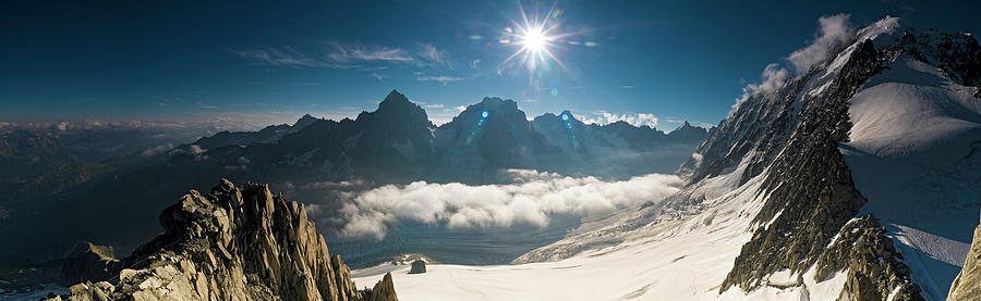 Scenic Photograph - Dramatic Alpine Sunburst Pinnacles by Fotovoyager