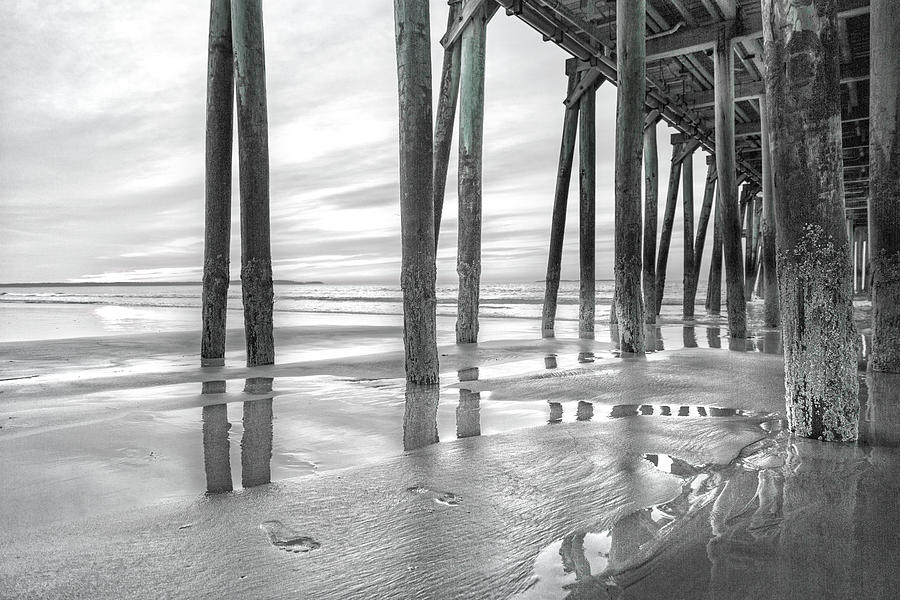 Old Photograph - Dramatic Pier Sunrise In Black And White by Betsy Knapp