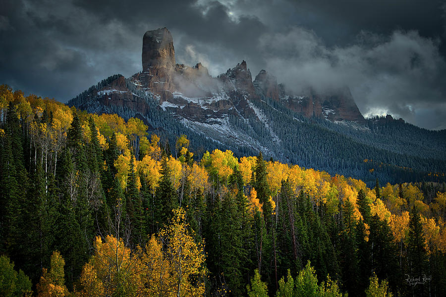 Dramatic skies over Chimney Rock.  by Richard Raul Photography