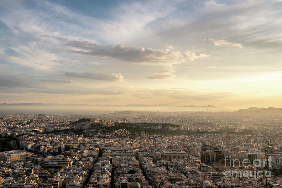 Dramatic sunset over Athens and Acropolis by Didier Marti