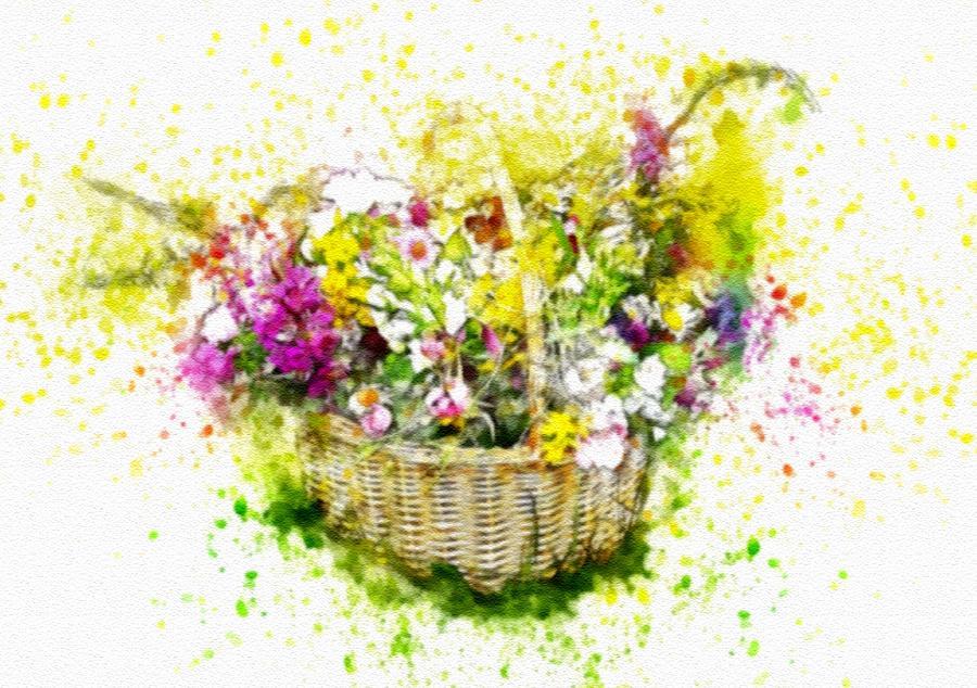 Drapercalia Catus 2 No.10 - Flower Basket - After The Style  Of G J R Draper. L B Digital Art