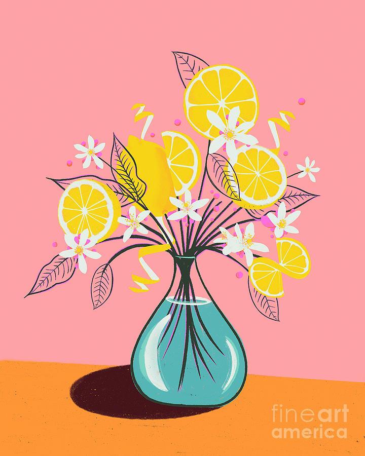 Drawing Of A Bouquet Of Lemons Photograph by Juj Winn