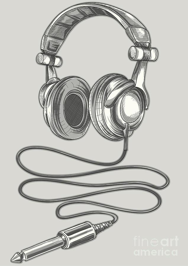 Studio Digital Art - Drawn Headphones & Jack by Alex bond