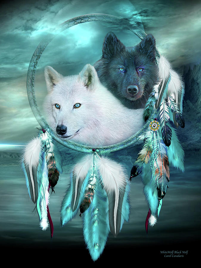 Dream Catcher - White Wolf Black Wolf by Carol Cavalaris