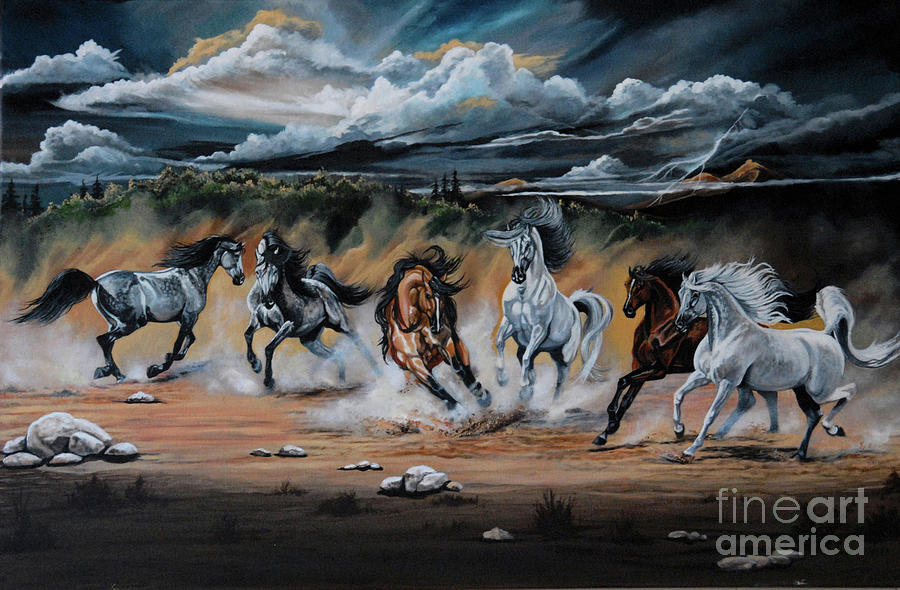 Painting Painting - Dream Horse Series 125 - Flat Bottom River Wild Horse Herd by Cheryl Poland
