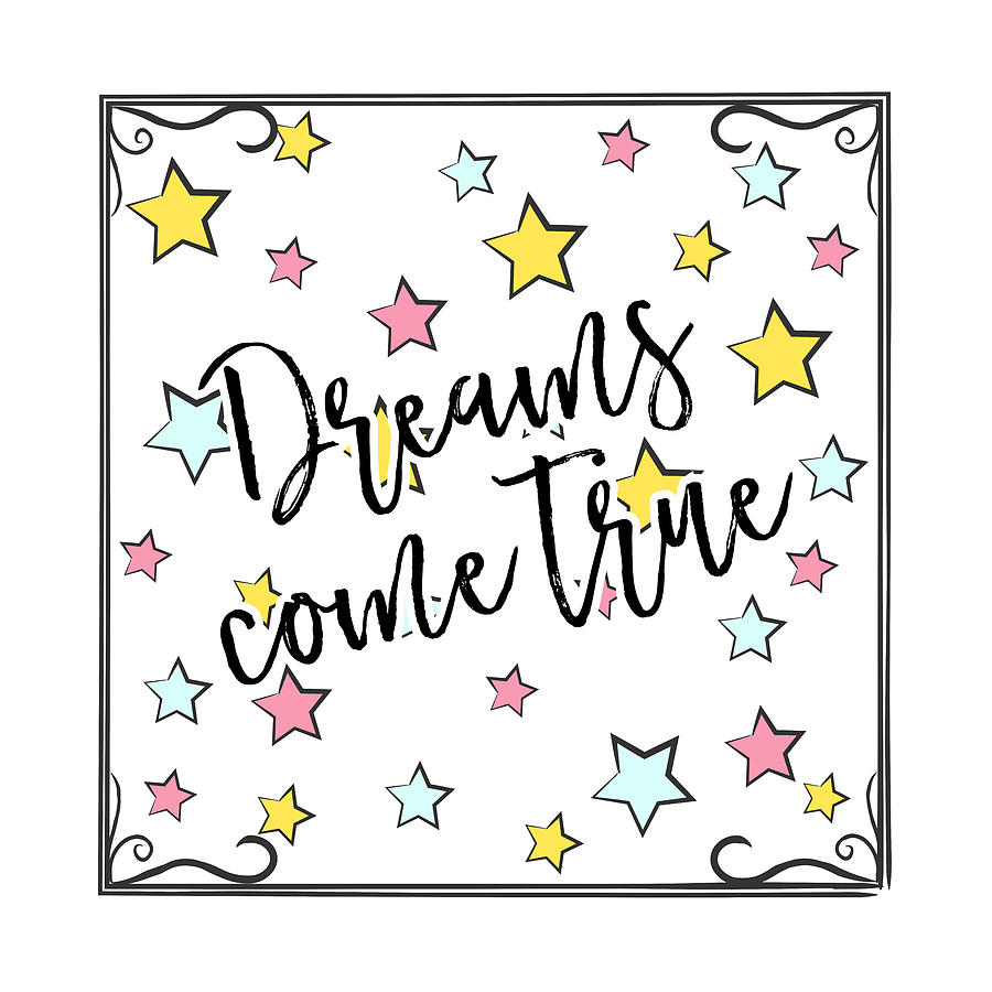 Dreams Come True - Baby Room Nursery Art Poster Print by Dadada Shop