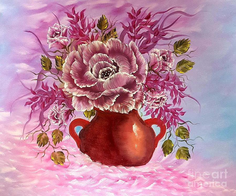 Pink Painting - Dreamy Floral Rose by Angela Whitehouse