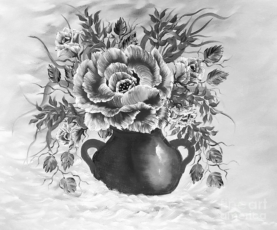 Gray Painting - Dreamy Floral Rose Gray by Angela Whitehouse