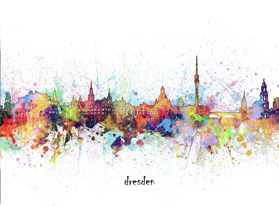 Dresden Digital Art - Dresden Skyline Artistic by Bekim M