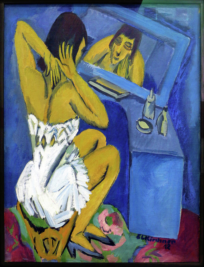 Dressing Table Painting - Dressing Table, Woman In The Mirror - Digital Remastered Edition by Ernst Ludwig Kirchner