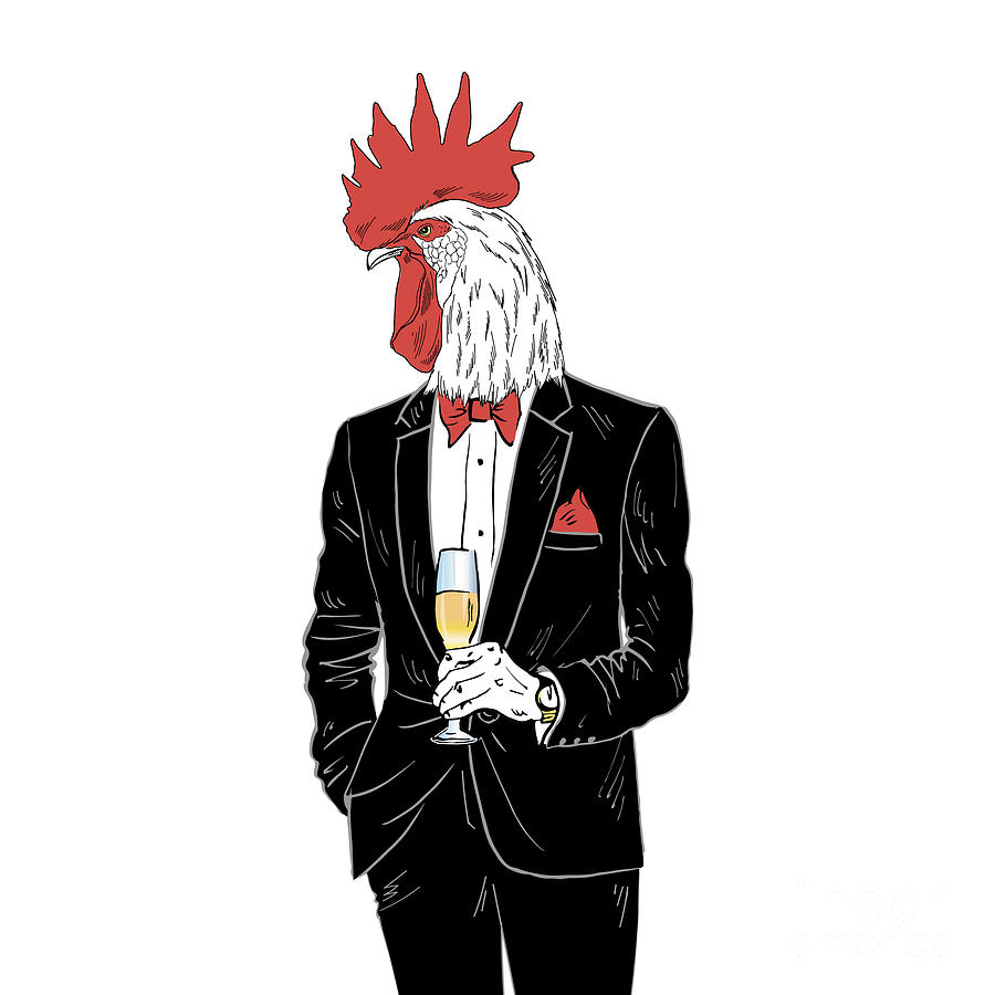 Dress Digital Art - Dressy Rooster With Glass Of Champagne by Olga angelloz