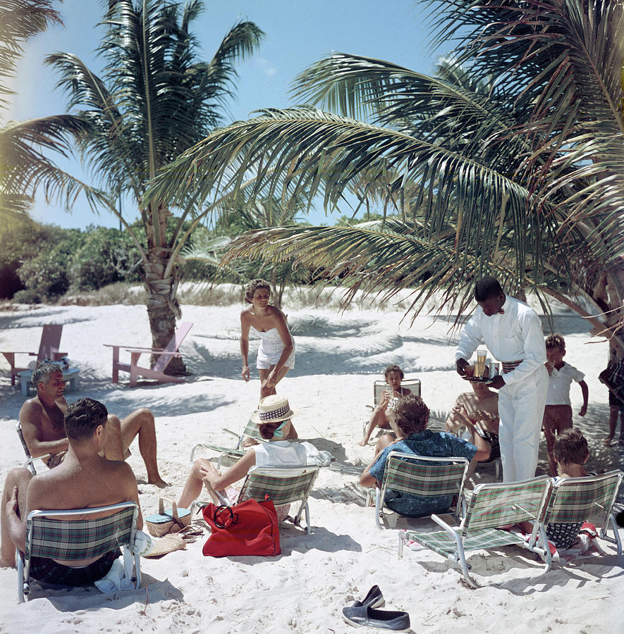 Drinks On The Beach Photograph by Slim Aarons